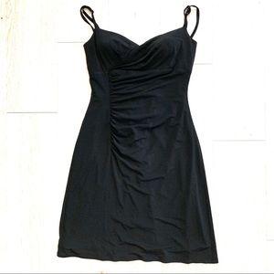 White House Black Market Dress 6 Black Ruched LBD